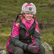 Pinewood Red Deer Jagdjacke Damen Moosgrün/Realtree AP Hot Pink HD®